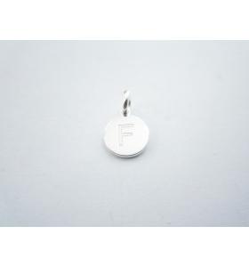 1 ciondolo charms tondo lettera F in argento 925
