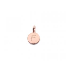 1 ciondolo charms tondo lettera F in argento 925 placcato oro rosa