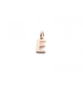 1 ciondolo charms piccola lettera E in argento 925 placcato oro rosa