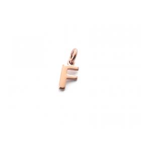 1 ciondolo charms piccola lettera F in argento 925 placcato oro rosa