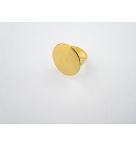 1 base anello da incollo in ottone dorato regolabile diametro 25 mm.