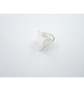 1 base anello da incollo in ottone argentato regolabile base rettangolare 20x18mm