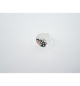 1 base anello da incollo in ottone argentato con fori regolabile tondo diametro 20 mm.