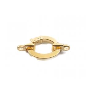 1 chiusura ovale a scomparsa in argento 925 placcato oro giallo + 2 attacchi