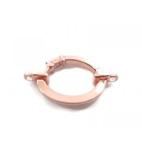 1 chiusura ovale a scomparsa grande argento 925 placcato oro rosa + 2 attacchi