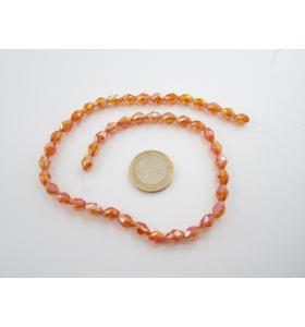 1 filo di cristallo ovale sfaccettato color arancio cangiante 8x6 mm