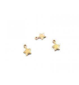 2 ciondol1 charms stellina piccola in argento 925 placcato oro rosso di 8,5x5,5 mm
