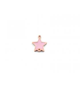 1 connettore stella in argento 925 placcato oro rosa con un lato smaltato giallo