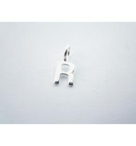 1 ciondolo charms piccola lettera R in argento 925