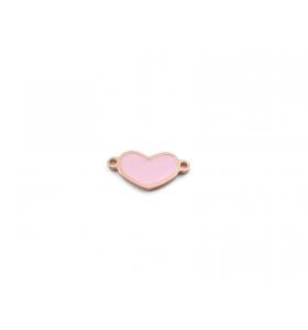 1 connettore cuore in argento 925 placcato oro rosa con un lato smaltato turchese
