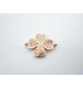 1 connettore quadrifoglio con pavè di zirconi bianchi in argento 925 placcato oro rosa