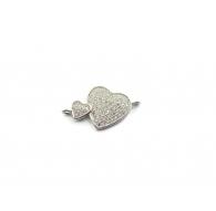 1 connettore doppio cuore con pavè di zirconi bianchi in argento 925 rodiato