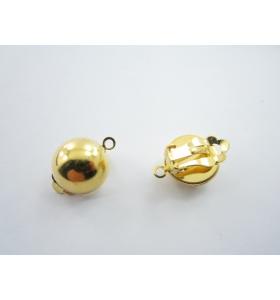 1 paio clips no foro tondo frontale bombato dorato di 14 mm