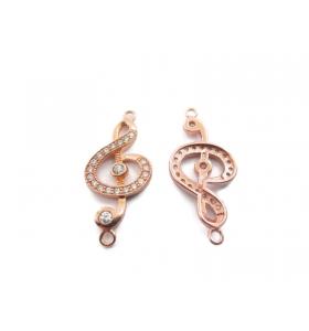 1 connettore chiave di violino con zirconi bianchi in argento 925 placcato oro rosa