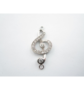 1 connettore chiave di violino con zirconi bianchi in argento 925 rodiato