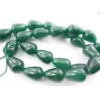 1 filo gocce cabochon in giada smeraldo di 14x10 mm