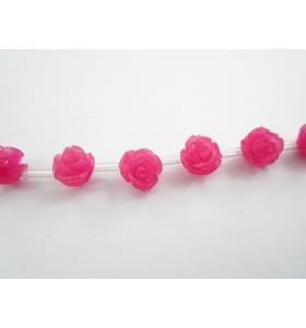 2 roselline fucsia in composto di resine cristallizzato 8x8 mm