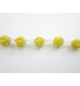 1 filo di 30 roselline gialle in composto di resine cristallizzato 8x8 mm