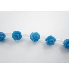 1 filo di 30 roselline azzurre in composto di resine cristallizzato 8x8 mm