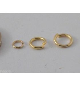 4 anellini aperti di 6 mm in argento 925 placcato oro giallo