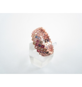 anello fascia di 6,5 mm con pavè di zirconi mix color in argento 925 placcato oro rosa fashion in milano