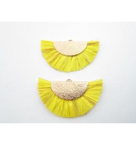 1 coppia di ventagli giallo in carta e fili montati su ottone dorato