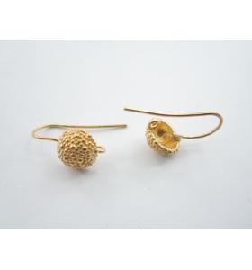 1 paio di monachelle puntinate in argento 925 placcato oro rosa tipo bottone sardo
