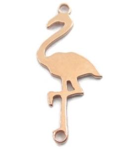 1 connettore 2 fori  fenicottero in argento 925 placcato oro rosa  di 15x7 mm