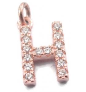 iniziale lettera H zirconi bianchi argento 925 placcato oro rosa ciondolo charms