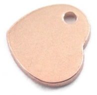 ciondolo charms cuore in argento 925 placcato oro rosa diametro 8 mm circa made in italy