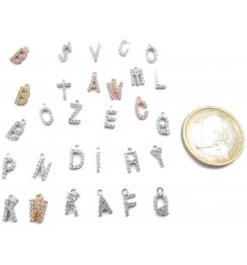 iniziale lettera A zirconi bianchi rodiati ciondolo charms