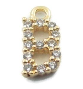 iniziale lettera B zirconi bianchi placcati oro giallo ciondolo charms