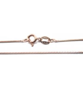 1 catenina modello veneziana sottile argento 925 placcata oro rosa di 0,7x0,7 mm lunga 40 cm made italy