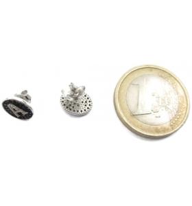 1 paio di orecchini ag 925 lettera A zirconi bianchi su pavè di zirconi neri