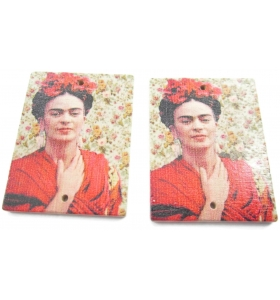 2 basi orecchino connettori 2 fori serie art frida kahlo in legno a