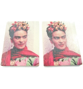 2 basi orecchino connettori 2 fori serie art frida kahlo in legno b
