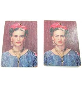 2 basi orecchino connettori 2 fori serie art frida kahlo in legno c