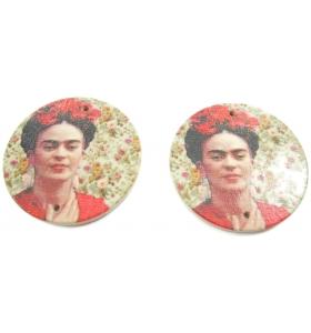 2 basi orecchino tonde connettori 2 fori serie art frida kahlo in legno