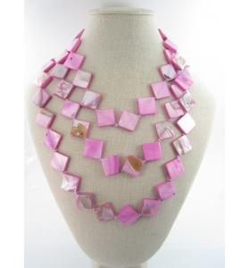 collana lunghissima senza chiusura in madreperla naturale tinta colori ceramici rosa