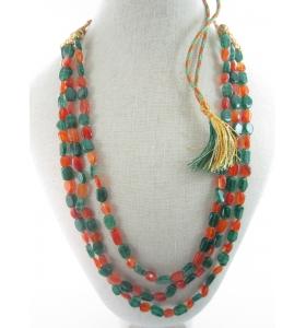 collana 3 fili pietra di corniola e agata verde su cordino classico orientale lungo 48 cm