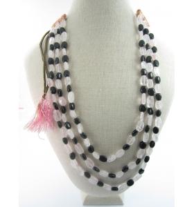 collana 3 fili pietra di onice e quarzo rosa su cordino classico orientale lungo 48 cm