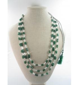 collana 3 fili pietra di cristallo di rocca e agata verde su cordino classico orientale lungo 48 cm