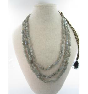 collana 3 fili pietra di labradorite su cordino classico orientale lungo 48 cm