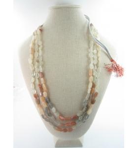 collana 3 fili pietra di pietra di luna adularia su cordino classico orientale lungo 48 cm