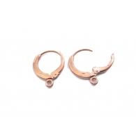1 paio di monachelle tonde con chiusura in argento 925 placcato oro rosa anellino finale 3,5 mm