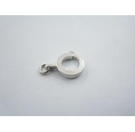 particolare chiusura moschettone tonda in argento 925 rodiata con un anellino made in italy