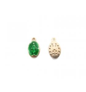 2 medagliette madonnina medie 1 foro smaltate verde di 4,5x8,5 mm