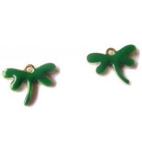 Ciondoli Charms  Libellule dorata  e smaltati verde 4 pz.