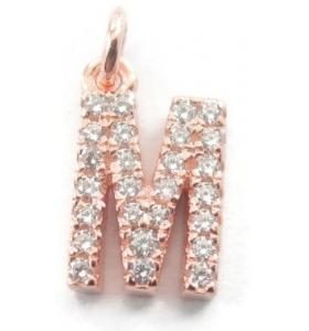iniziale lettera M zirconi bianchi argento 925 placcato oro rosa ciondolo charms