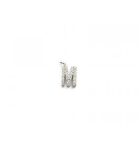 iniziale lettera M zirconi bianchi argento 925 rodiato ciondolo charms